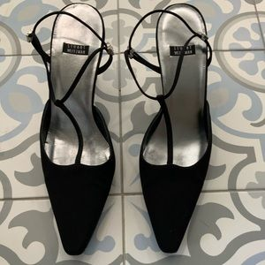 Stuart Weitzman Black Satin T strap shoes